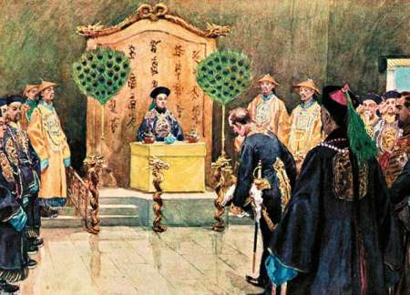 the guangxu emperor receives a foreign envoy